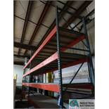 """SECTIONS 42"""" X 149"""" X 12'4"""" HIGH ADJUSTABLE BEAM MULTI-LEVEL WOOD DECK PALLET RACK"""
