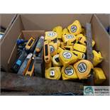(LOT) TAPE MEASURES, BOX KNIFES & METAL SQUARES