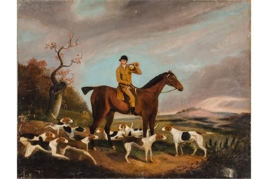"""OLIO su tela """"caccia alla volpe con cavaliere, cavalli e ..."""