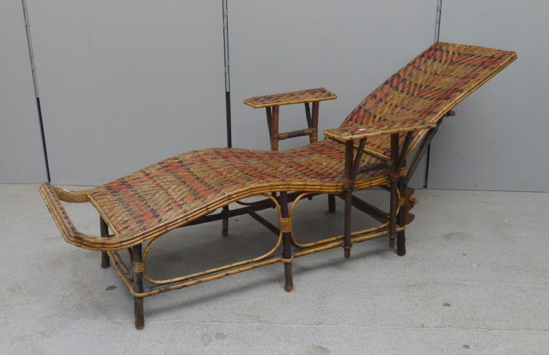 Lot 8 - C19th Victorian Bamboo & Woven Rattan Steamer Chair, adjustable  back, detachable - C19th Victorian Bamboo & Woven Rattan Steamer Chair, Adjustable