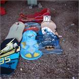 Assorted sleds, crazy carpets, GT snow racers, Red sleigh