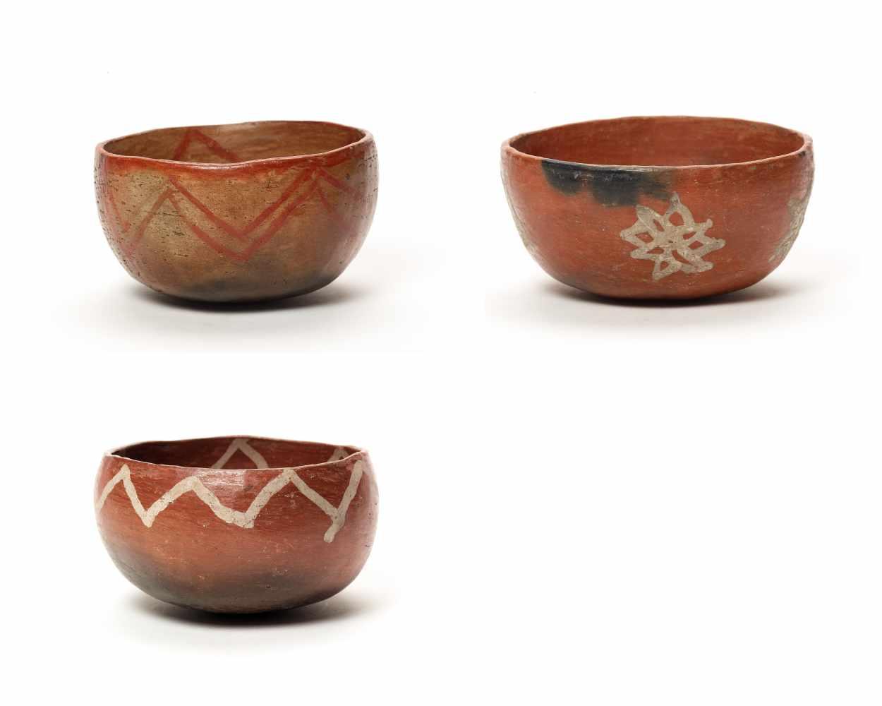 THREE BOWLS – PROBABLY CHARCHI CULTURE, ECUADOR, C. 850 – 1500 ADFired clayProbably Charchi culture,