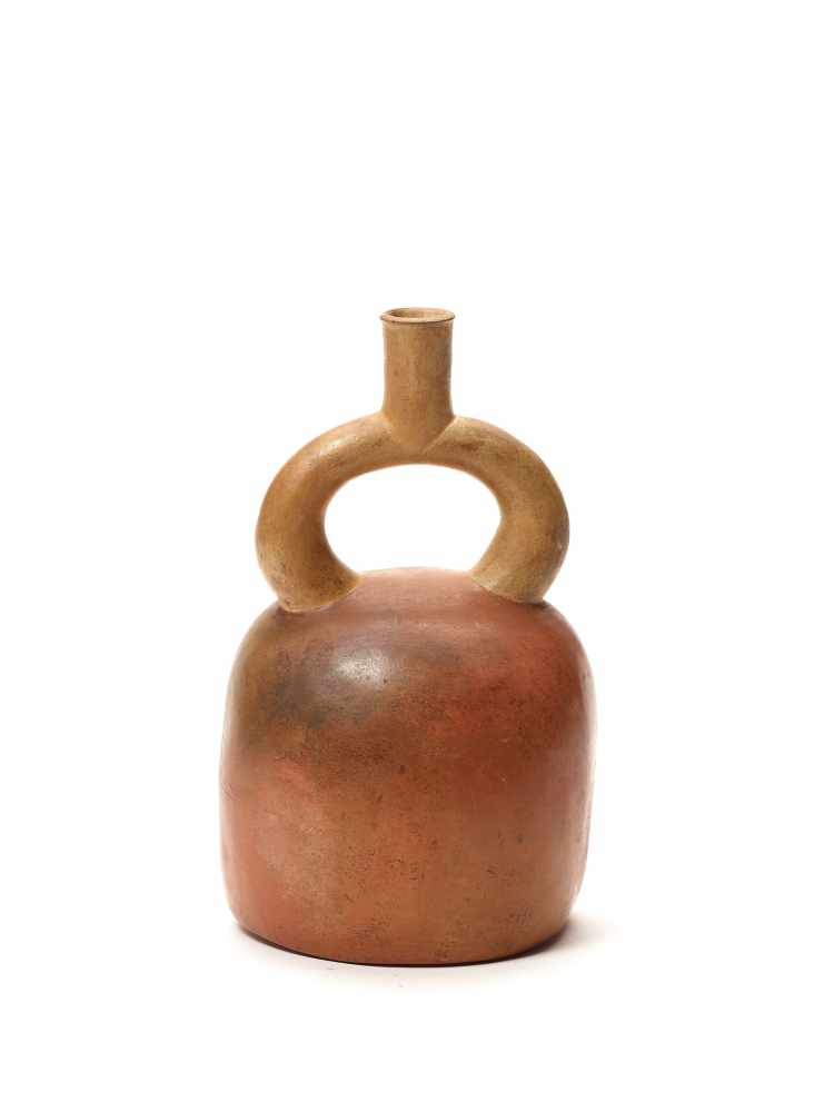 TL TESTED HEAD SHAPE STIRRUP VESSEL - MOCHE CULTURE, PERU, C. 1ST CENTURYFired clay with red color - Image 3 of 4