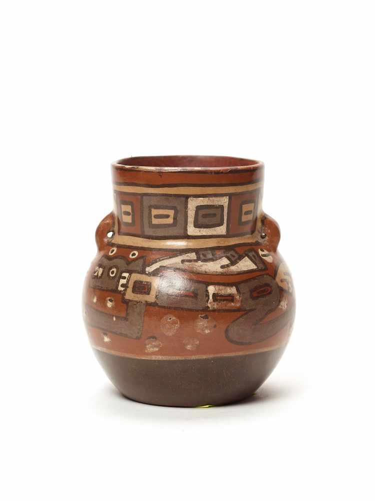 THREE CUPS AND A VESSEL- HUARI/ WARI CULTURE STYLE Painted clayHuari/ Wari culture style, Peru, - Image 11 of 13