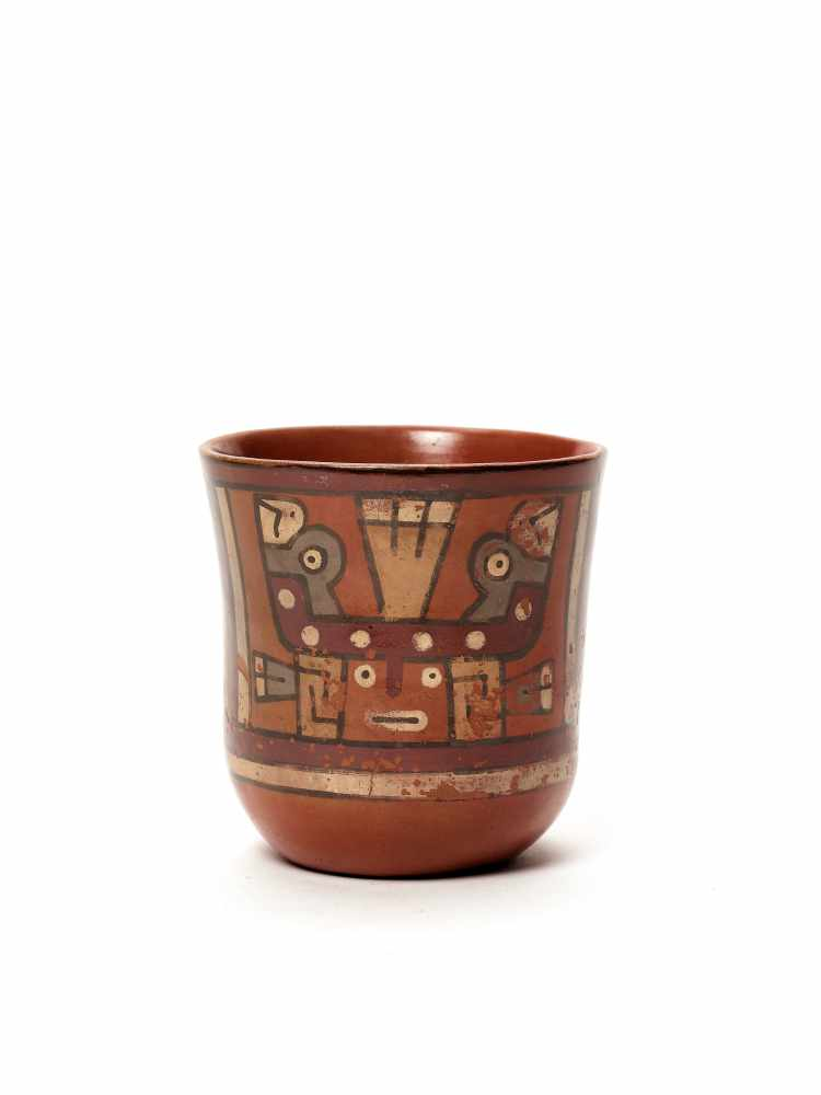 THREE CUPS AND A VESSEL- HUARI/ WARI CULTURE STYLE Painted clayHuari/ Wari culture style, Peru, - Image 8 of 13