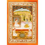AN INDIAN MINIATURE PAINTING OF KRISHNA IN FRONT OF HERMITSColors and gold on paperIndia, Mogul-