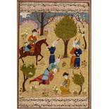AN INDO-PERSIAN MINIATURE PAINTING - 19th CENTURYMiniature painting with colors and gold on paper.