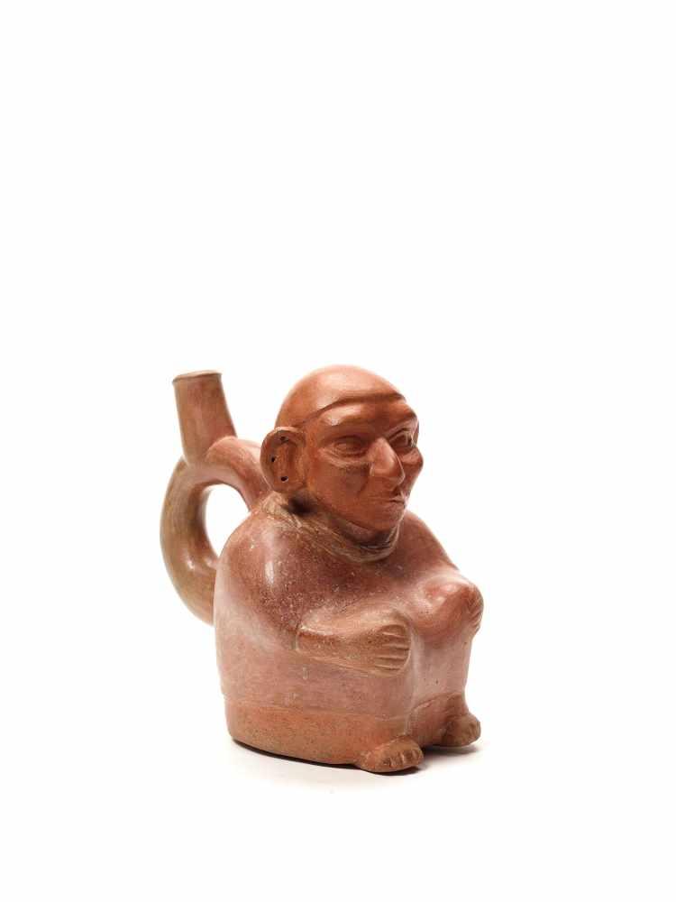 TL-TESTED OLD MAN STIRRUP – MOCHE CULTURE, PERU, C. 5TH CENTURYRed fired clayMoche culture, Peru, c.