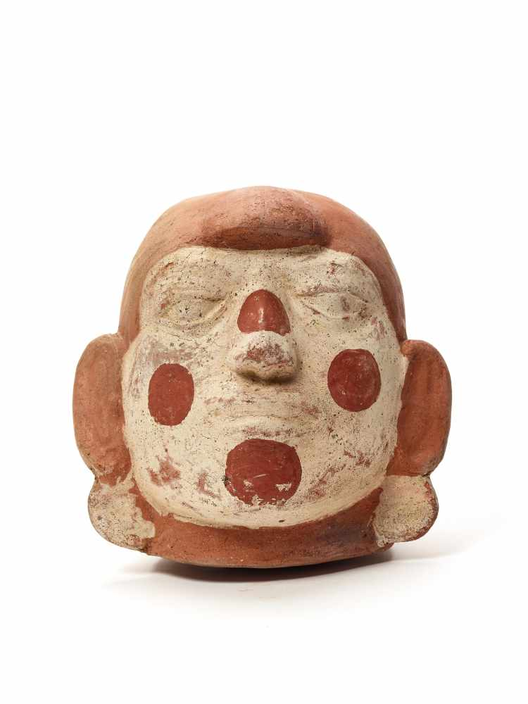 TL-TESTED LARGE HEAD-SHAPED VESSEL – MOCHE CULTURE, PERU, C. 11TH CENTURYFired clay painted in