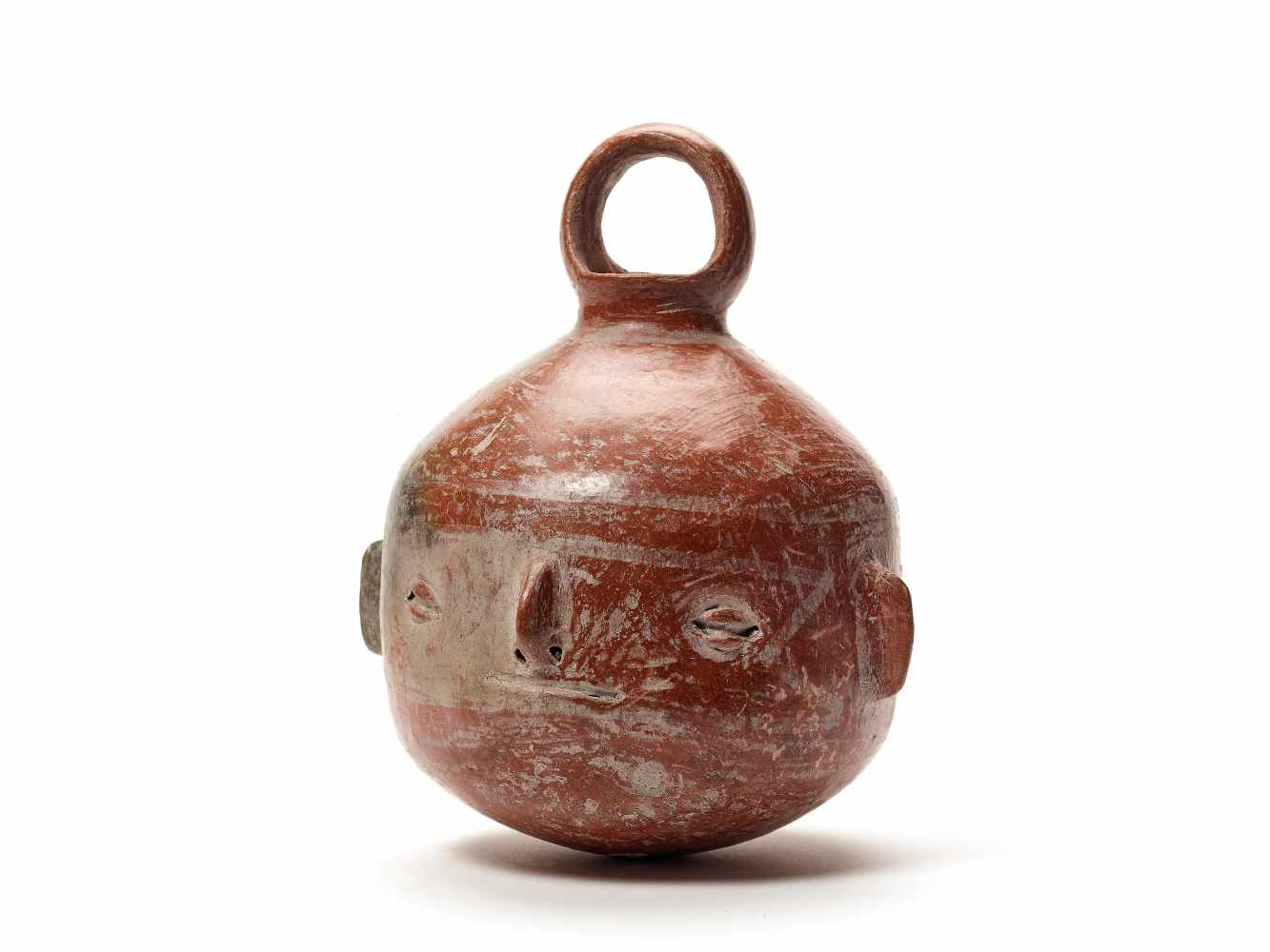 TL-TESTED HEAD-SHAPED VESSEL - VICUS CULTURE, PERU, C. 1st CENTURY BCFired clayVicus culture,