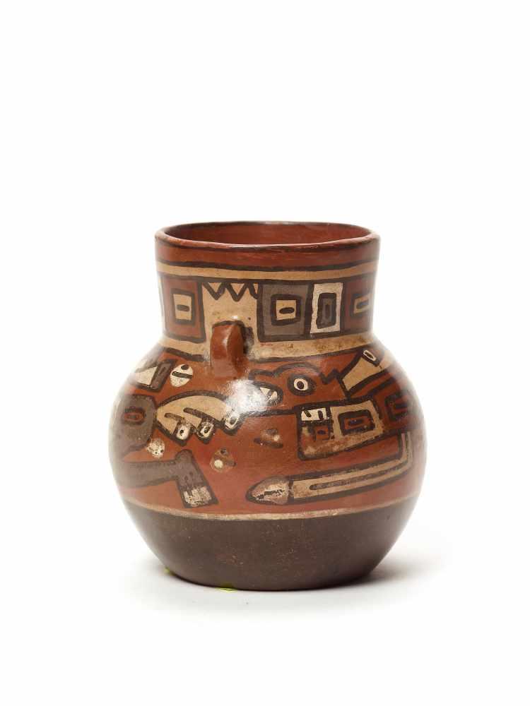 THREE CUPS AND A VESSEL- HUARI/ WARI CULTURE STYLE Painted clayHuari/ Wari culture style, Peru, - Image 13 of 13
