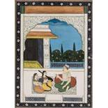 AN INDIAN MINIATURE PAINTING - 19th CENTURYMiniature painting with colors and gold on paperIndia,
