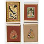 FOUR SMALL INDIAN PAINTINGS – 19TH AND 20TH CENTURYColors and gold on paper, ivory and leaves, all