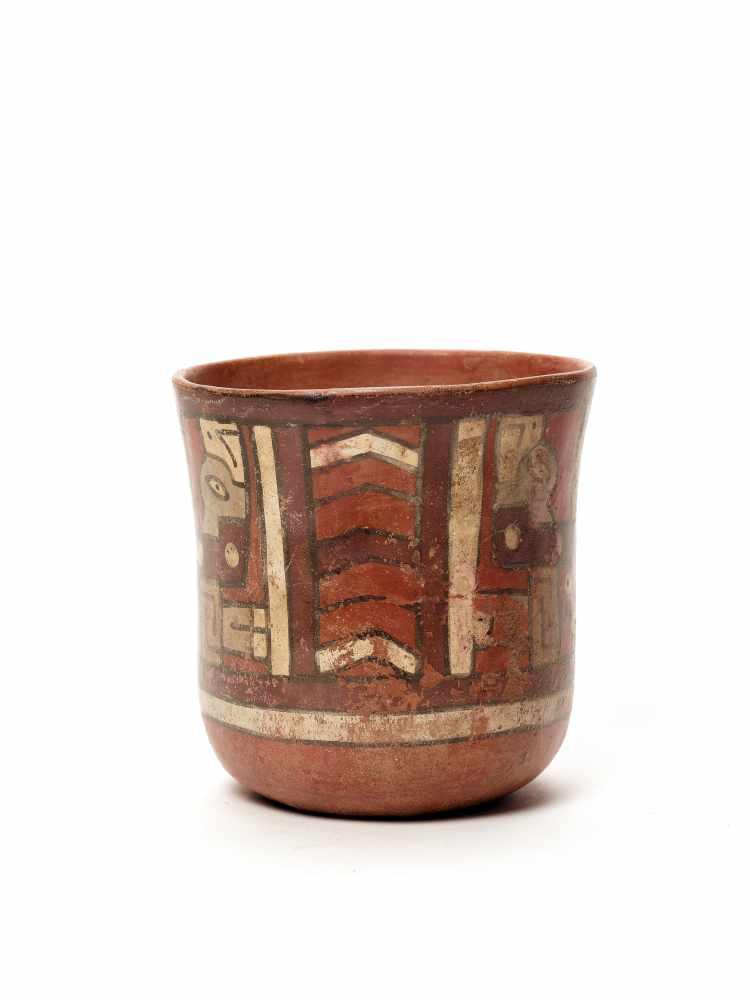 THREE CUPS AND A VESSEL- HUARI/ WARI CULTURE STYLE Painted clayHuari/ Wari culture style, Peru, - Image 6 of 13