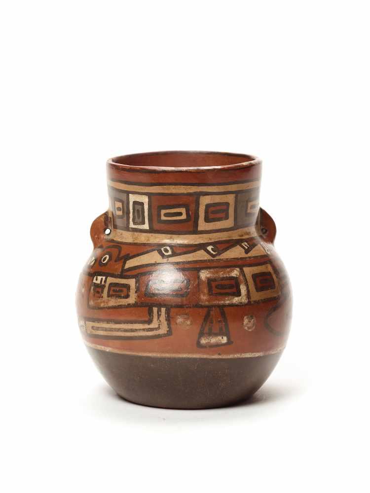 THREE CUPS AND A VESSEL- HUARI/ WARI CULTURE STYLE Painted clayHuari/ Wari culture style, Peru, - Image 12 of 13