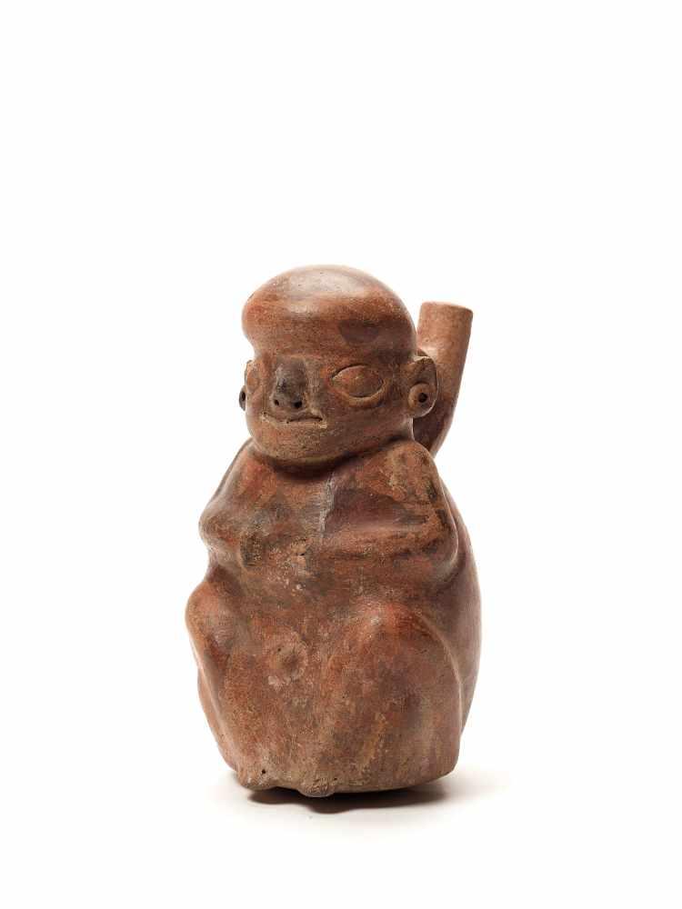 FIGURAL STIRRUP VESSEL - VICUS CULTURE, PERU, C. 1st CENTURY ADFired clayVicus culture, Peru, c. 1st