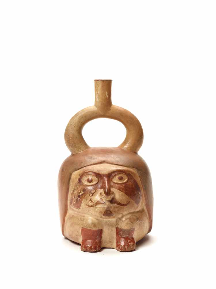 TL TESTED HEAD SHAPE STIRRUP VESSEL - MOCHE CULTURE, PERU, C. 1ST CENTURYFired clay with red color