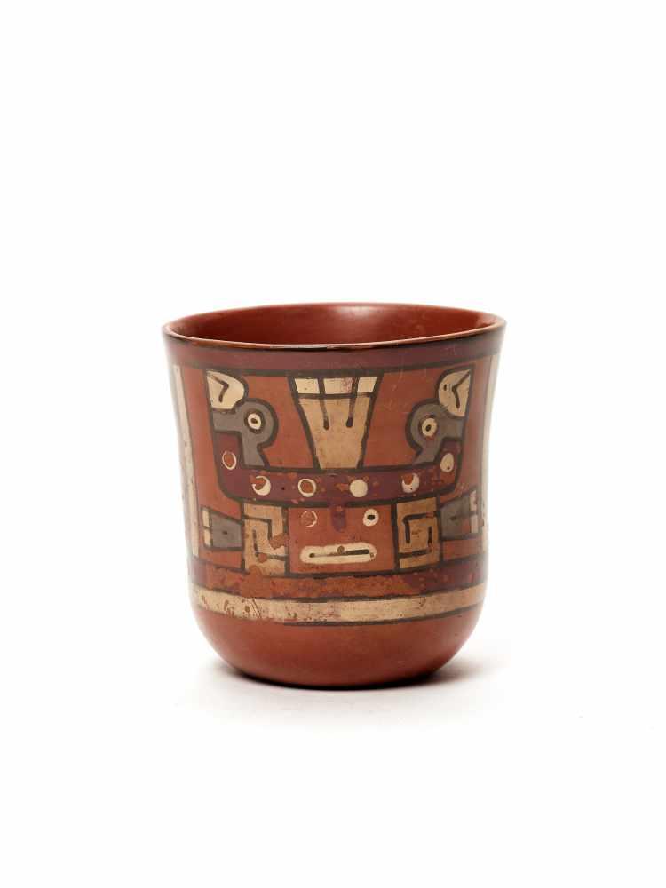 THREE CUPS AND A VESSEL- HUARI/ WARI CULTURE STYLE Painted clayHuari/ Wari culture style, Peru, - Image 10 of 13