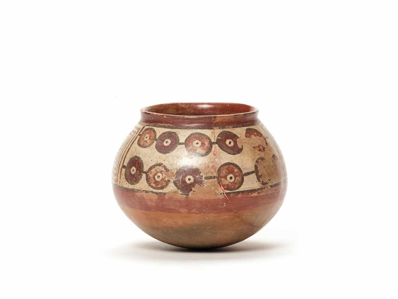 PAINTED CLAY POT - NAZCA, PERU, C. 300-600 ADPainted clayNazca, Peru, c. 300-600 ADSpherical form