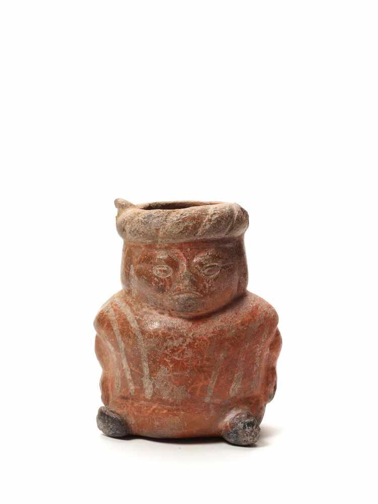 VESSEL IN THE FORM OF A DWARF - MOCHE CULTURE, PERU, C. 500 ADFired clayMoche culture, Peru, c.