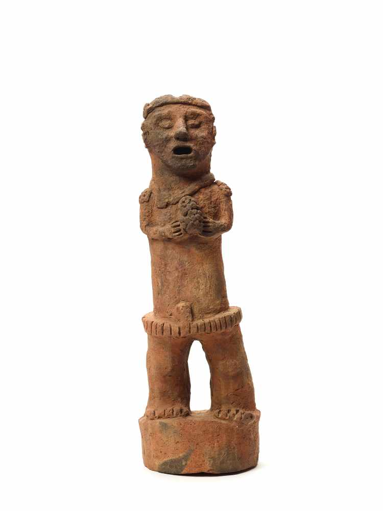 TL-TESTED STANDING FIGURE ON PEDESTAL - MAYA CIVILIZATION, GUATEMALA, C. 13TH CENTURYRed clayMaya