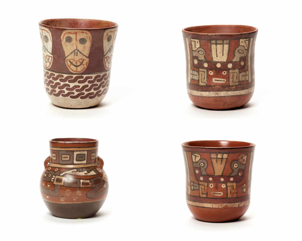 THREE CUPS AND A VESSEL- HUARI/ WARI CULTURE STYLE Painted clayHuari/ Wari culture style, Peru,