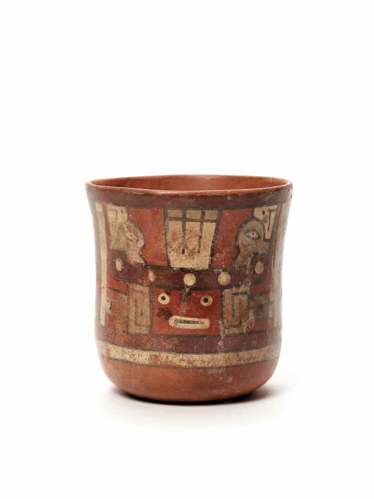 THREE CUPS AND A VESSEL- HUARI/ WARI CULTURE STYLE Painted clayHuari/ Wari culture style, Peru, - Image 7 of 13