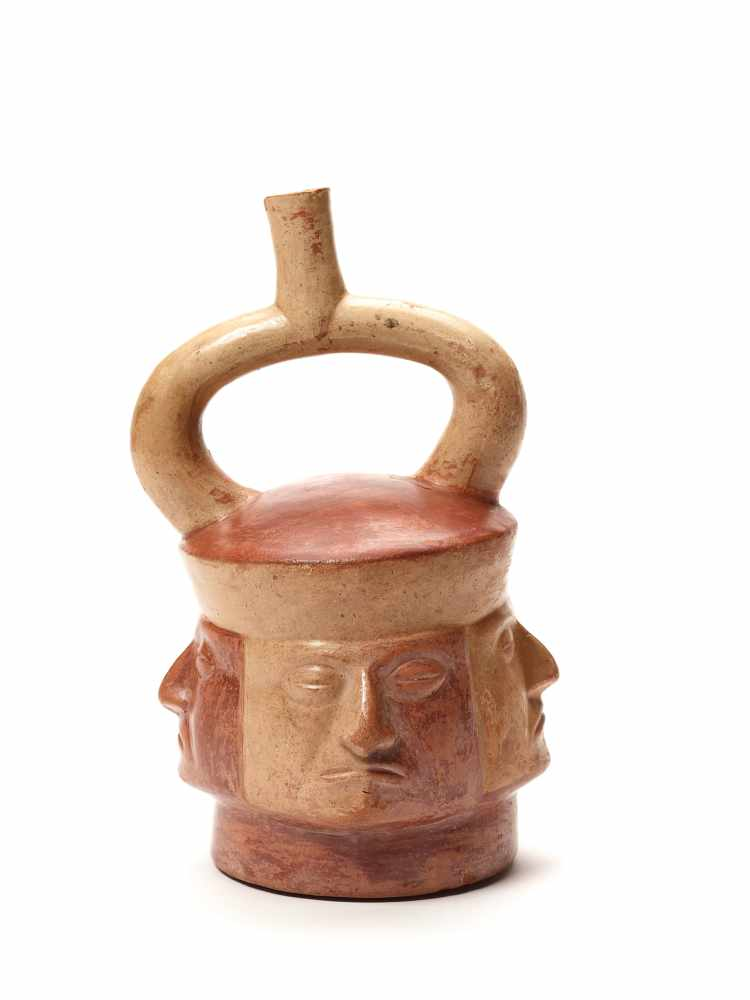 TL-TESTED STIRRUP VESSEL WITH FOUR HEADS – MOCHE CULTURE, PERU, C. 4TH CENTURYPainted fired