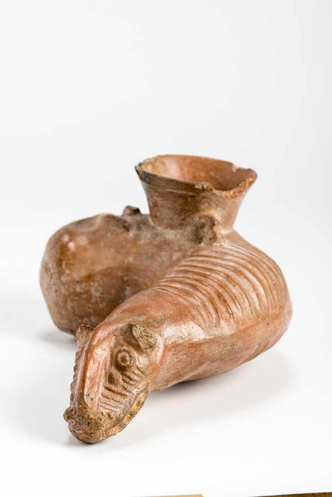 ANIMAL-SHAPED VESSELTerracottaPeru, Chimú culture, ca. 1000 -1200 Unusual design, the animal's - Image 2 of 7