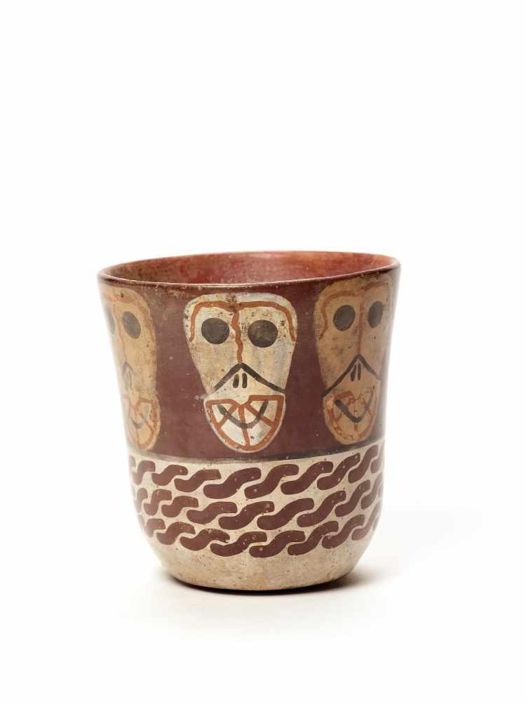 THREE CUPS AND A VESSEL- HUARI/ WARI CULTURE STYLE Painted clayHuari/ Wari culture style, Peru, - Image 4 of 13