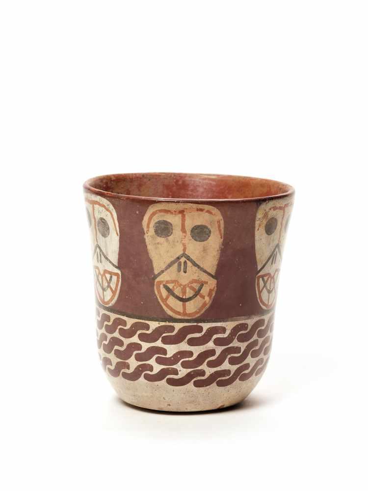 THREE CUPS AND A VESSEL- HUARI/ WARI CULTURE STYLE Painted clayHuari/ Wari culture style, Peru, - Image 2 of 13