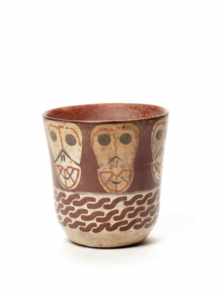THREE CUPS AND A VESSEL- HUARI/ WARI CULTURE STYLE Painted clayHuari/ Wari culture style, Peru, - Image 3 of 13