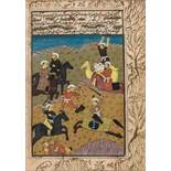 A MINIATURE PAINTING OF A BATTLE SCENE- 19th CENTURYMiniature painting with colors and gold on