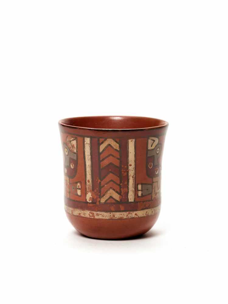 THREE CUPS AND A VESSEL- HUARI/ WARI CULTURE STYLE Painted clayHuari/ Wari culture style, Peru, - Image 9 of 13