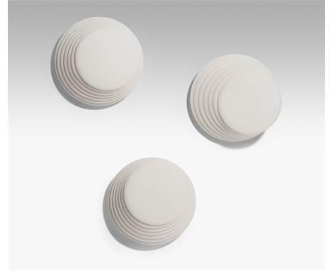 """5 Decken- bzw. Wandlampen """"Coba"""". Entwurf: Roberto Pamio & Renato Toso. Ausführung Glas: vetri murano, 1980er Jahre. Weis"""