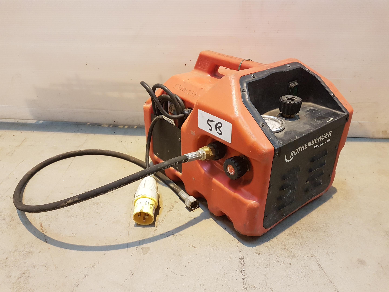 Lot 5 - Rothenberger RP PRO 111 PIPE PRESSURE TEST PUMP-ELEC 110v 530R2939, working