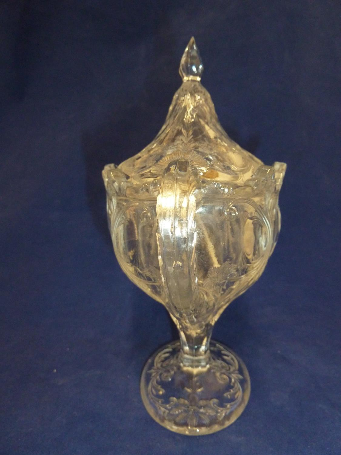 French Glass - a moulded colorless glass sugar box and cover, in the Rock Crystal style, the two - Image 6 of 9