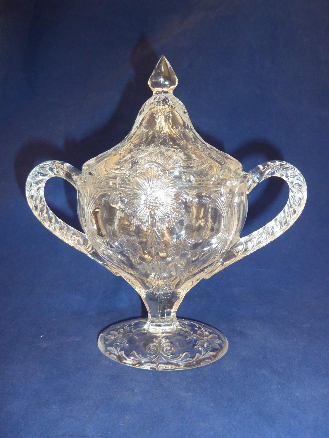 French Glass - a moulded colorless glass sugar box and cover, in the Rock Crystal style, the two