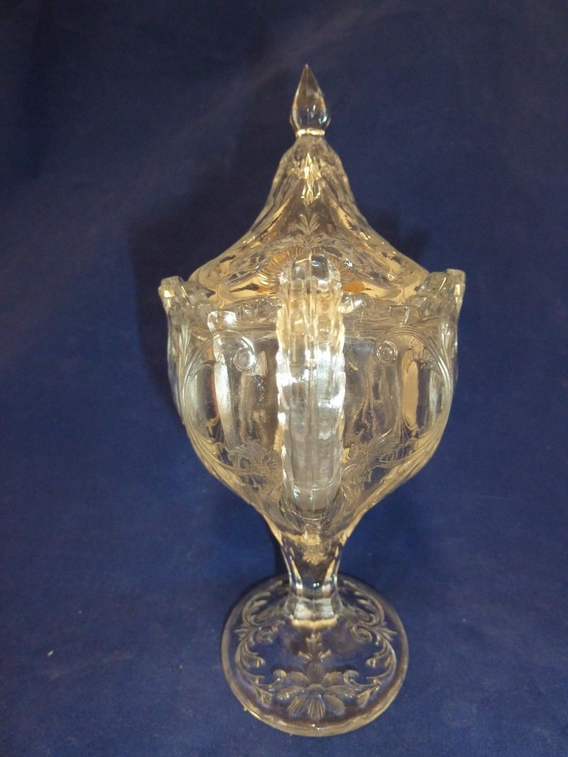 French Glass - a moulded colorless glass sugar box and cover, in the Rock Crystal style, the two - Image 4 of 9
