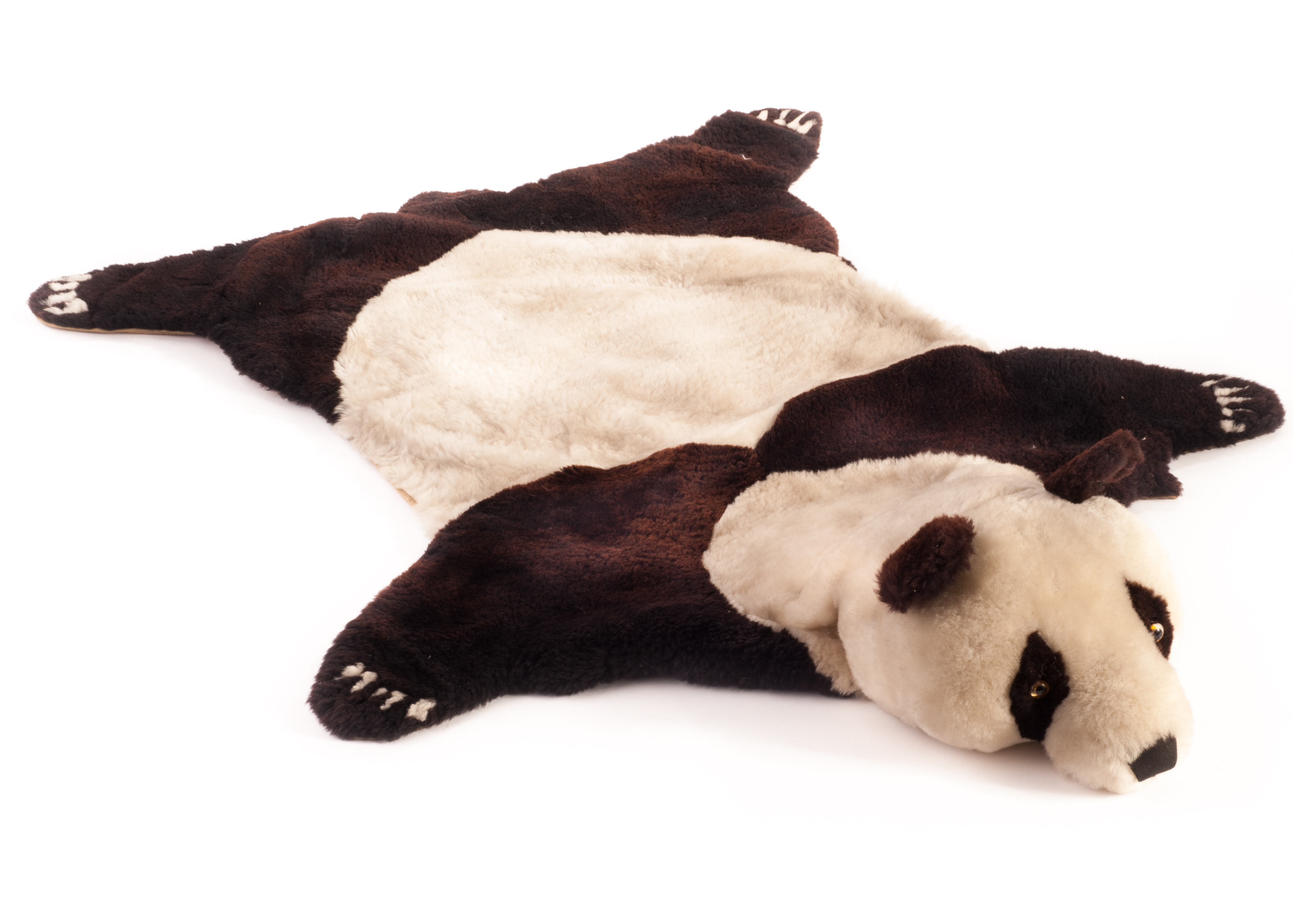 Lovely Lot 387   An Unusual Chinese Nylon Sheepskin Panda Bear Rug, With Black And  White
