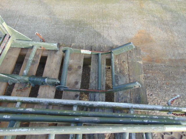 Lot 64 - 4 Section Military Aluminium Scaling/Assault Ladder with Ridge Hook and Roller Attachments