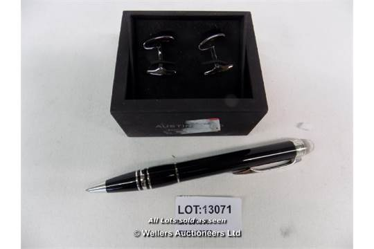Austin Reed Cufflinks In A Box And Emontblance Pen Grade Unclaimed Property Dc1 Mk290316