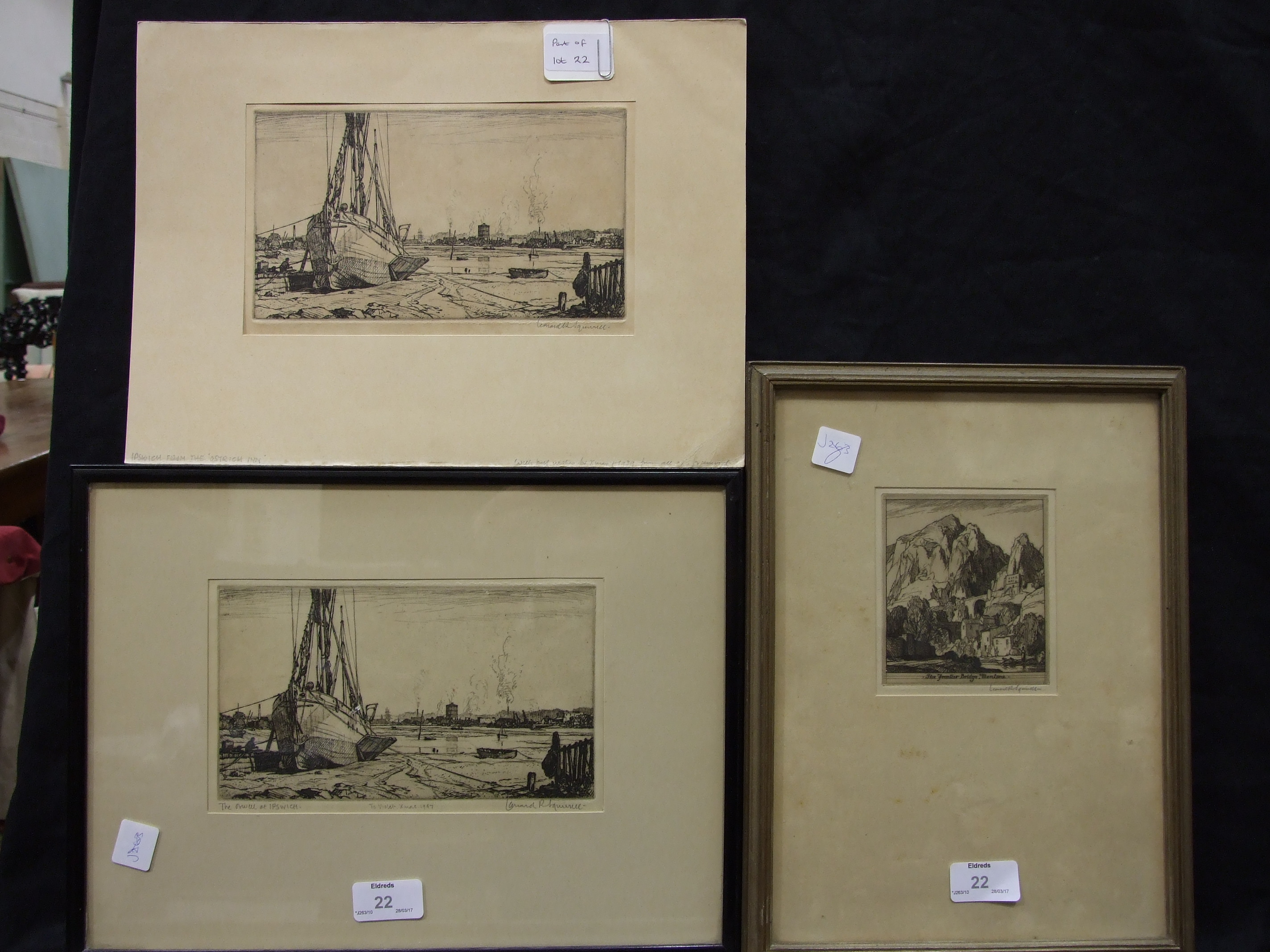 """Lot 22 - After Leonard R Squirrell """"The Orwell at Ipswich"""", engraving, signed and titled in pencil on mount"""