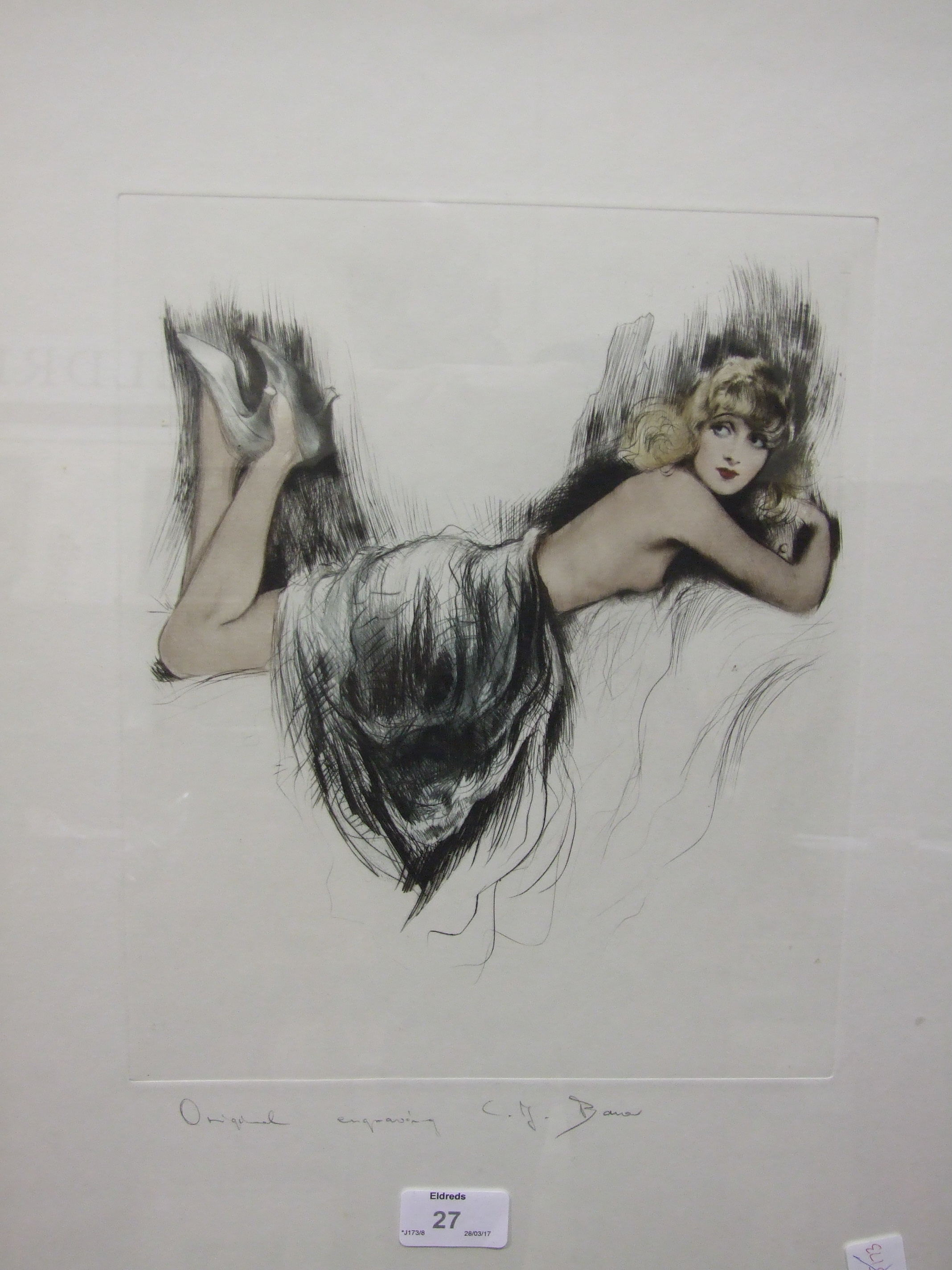 Lot 27 - C J Bauer, 'Study of a naked female figure', framed coloured engraving, signed in pencil, 41 x 35.