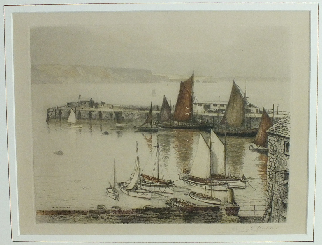 Lot 30 - After Henry G Walker, 'Fishing boats at low tide in Mevagissey harbour', a coloured etching.