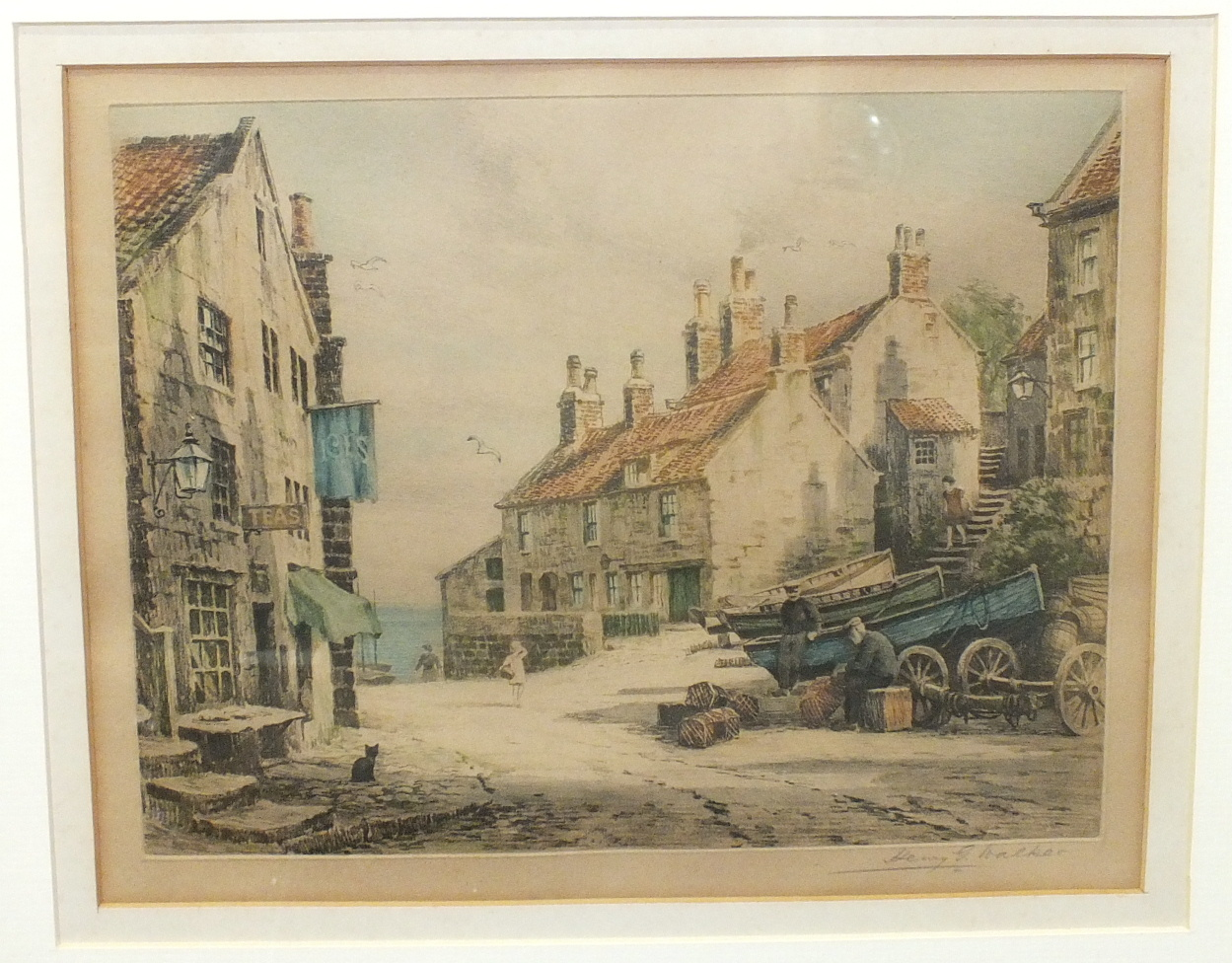 Lot 31 - After Henry G Walker, 'Coastal scene', probably Mousehole, a coloured etching signed in pencil, 27.5