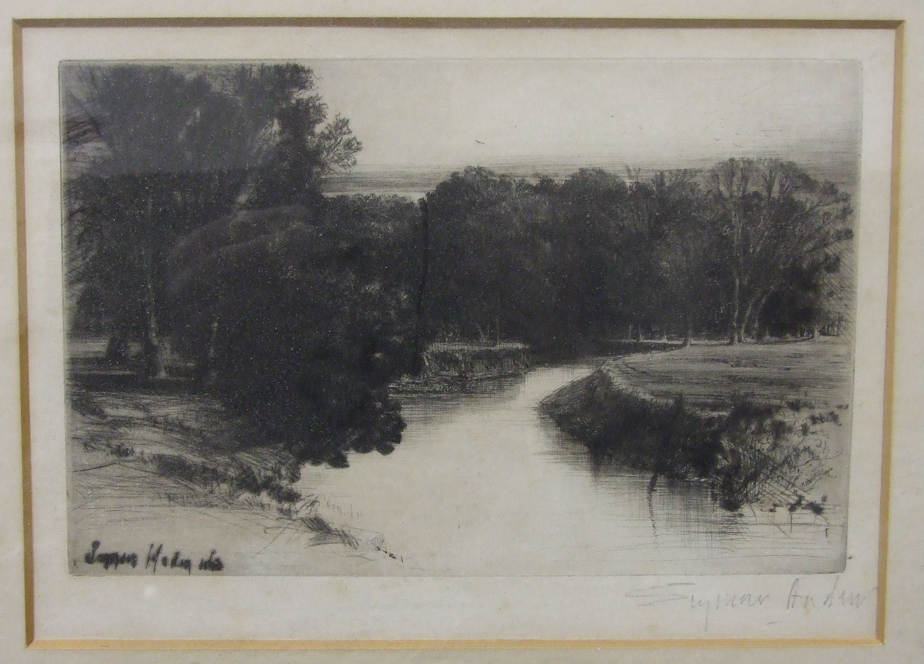 Lot 33 - Edgar L Pattison, (b1872) 'A Canal in Normandy', etching, signed and titled in pencil in the margin,