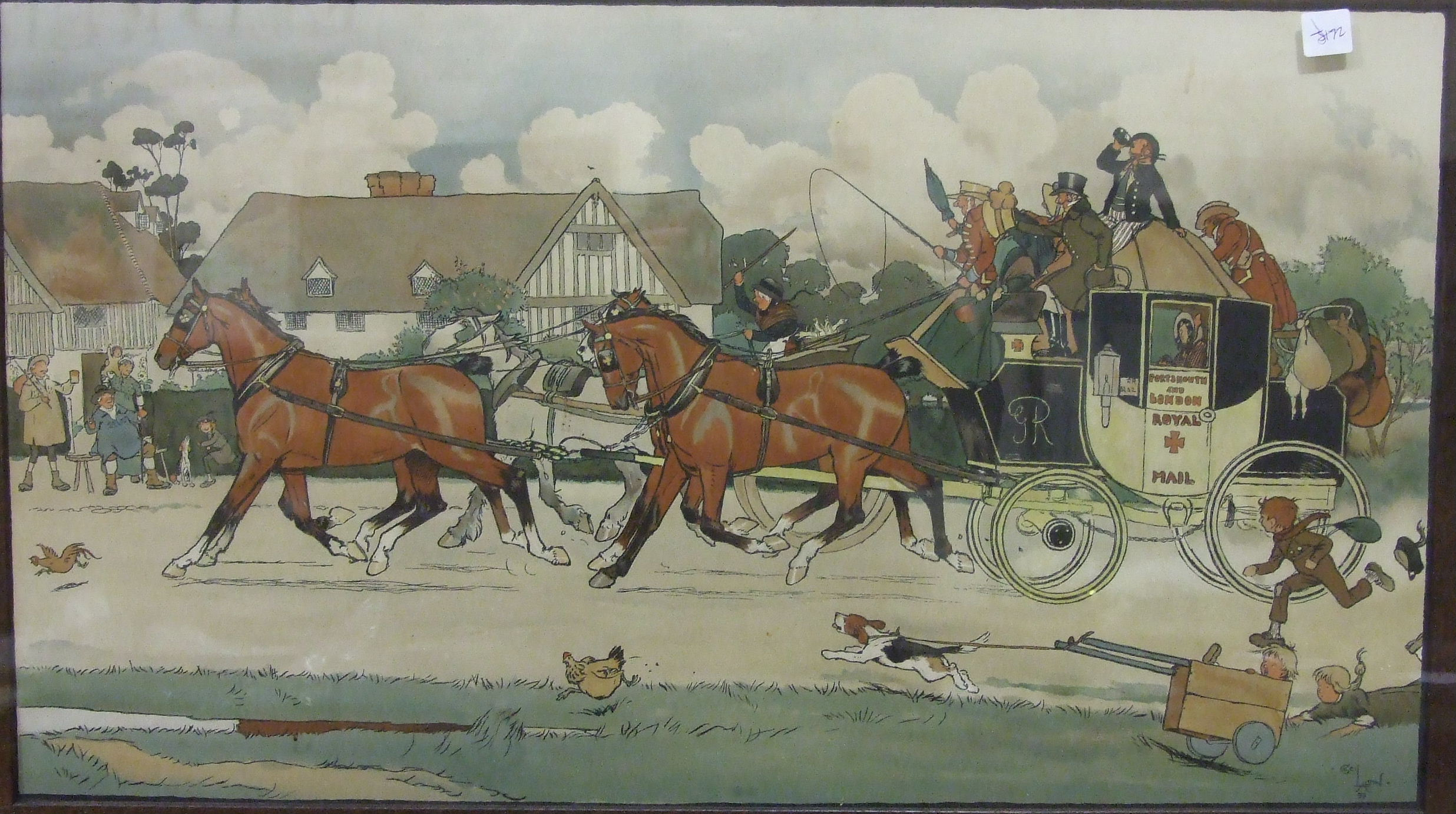"""Lot 29 - After Cecil Aldin """"The Portsmouth and London Royal Mail Coach"""" framed coloured print, 40 x 71cm"""