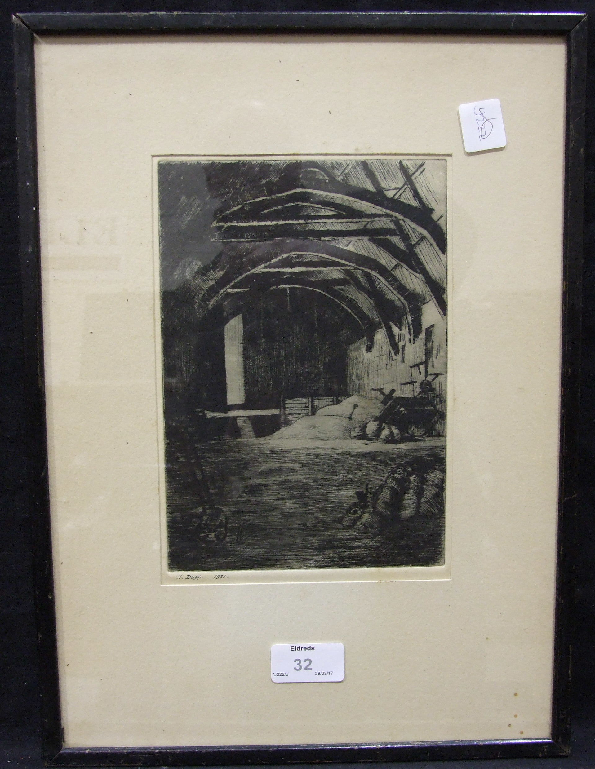 Lot 32 - A collection of five black and white etchings, including John Winkler 'Freight from The Orient',