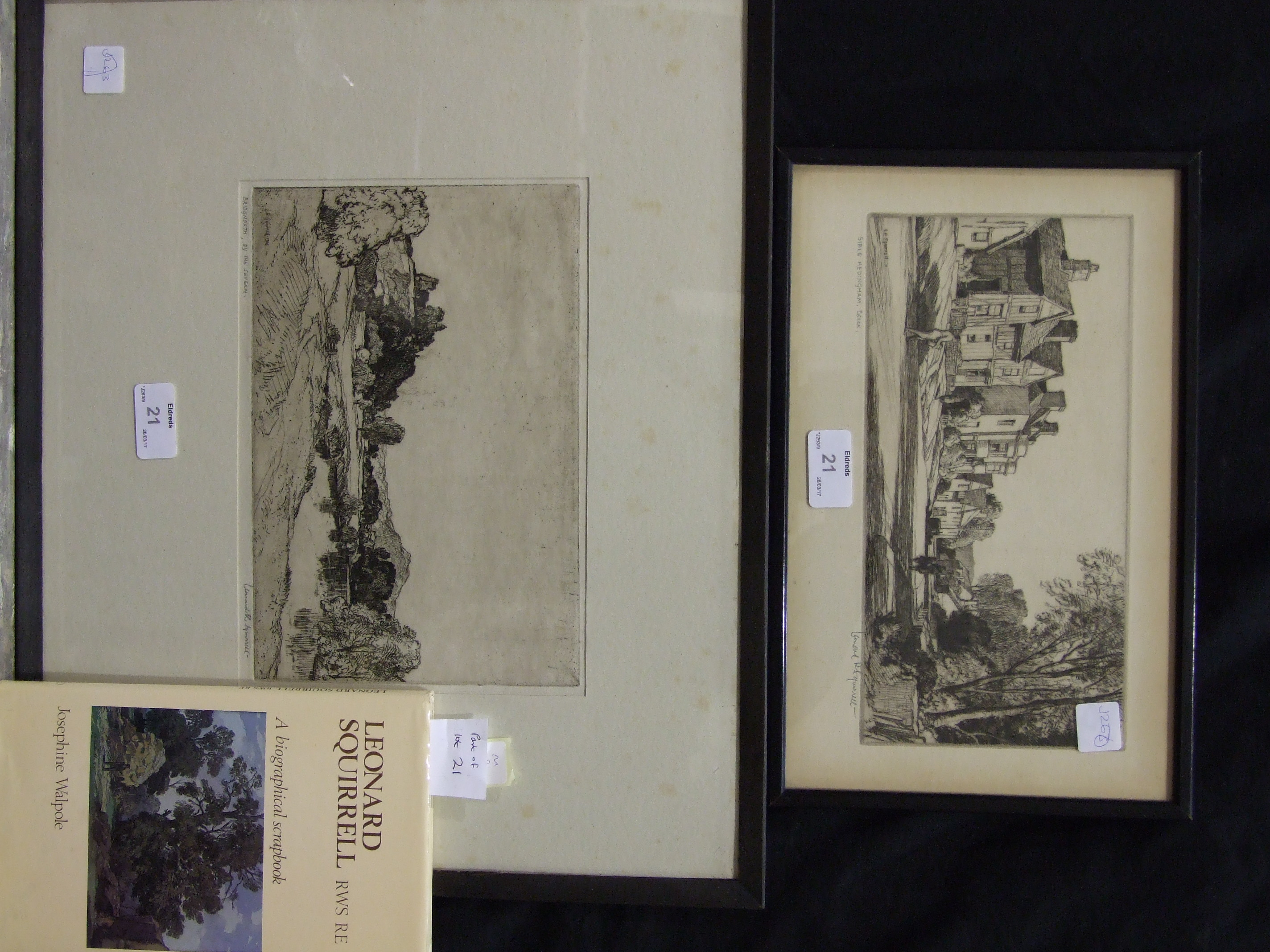 """Lot 21 - After Leonard R Squirrell, """"Bridgenorth by the Severn"""" Engraving, signed and titled in margin, 17."""